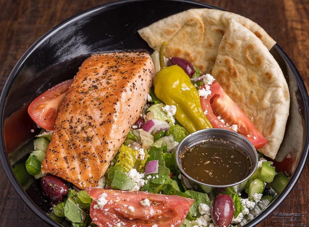 Salmon Souvlaki Salad