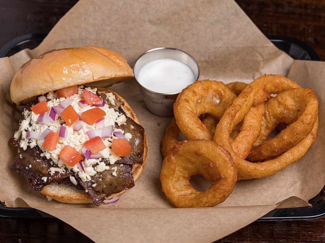 Greek Burger & Onion Rings